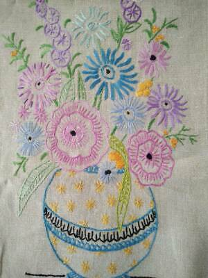 Gorgeous Vintage Hand Embroidered Mixed Flower Bowls  Runner/ Scarf