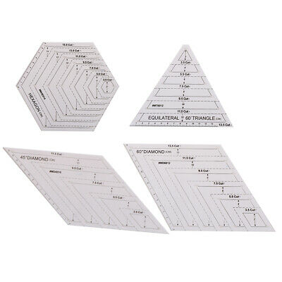 Quilting Patchwork Ruler Triangle Rhombus Hexagon Acrylic Template Sewing Tool F