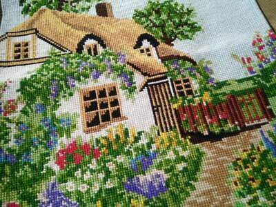 Charming Thatch Cottage & Gardens   Completed Tapestry~ D'Art ~ Frame? Craft?