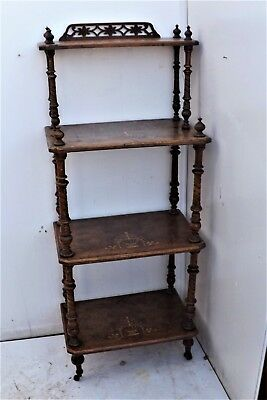 Victorian 4 tier inlaid walnut whatnot