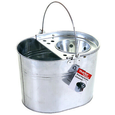 Metal Mop Bucket Galvanised Steel Indoor Outdoor Cleaning Wringer With Handle
