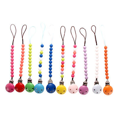 Prettyia Wooden Baby Pacifier Clip Chain Soother Nipple Holder Infant Teether