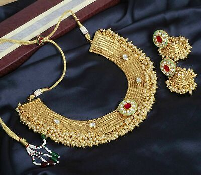 Indian Bollywood Antique Gold Pearl Kundan Polki Necklace Earring Bridal Jewelry