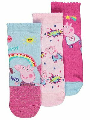 Girls Kids Official George Peppa Pig Socks 3 Pack