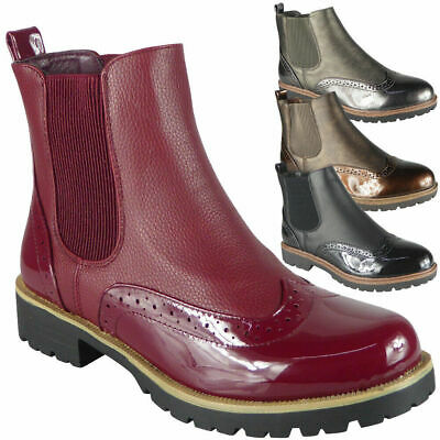 Womens Ladies Chelsea Brogue Slip On Ankle Boots Fashion Shoes Casual Comfy Size
