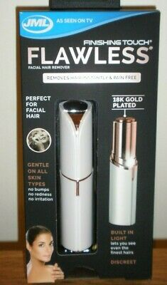 JML Finishing Touch Flawless Facial Hair Remover - WHITE/GOLD - Brand New