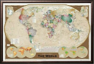 269696 World Map Triple View Educational Office Rust Frame WALL PRINT POSTER AU