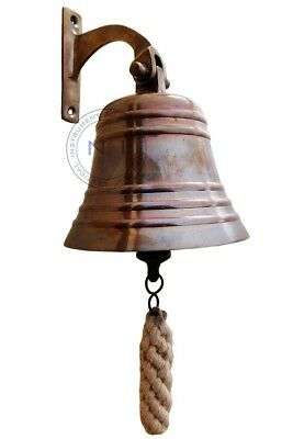 "Antique Brass 5"" Ship Bell Nautical Hanging Door Bell With Wall Mounted Bracket"