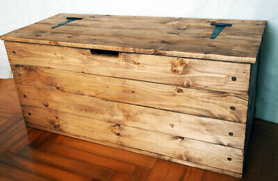 Rustic Wooden Chest Trunk Blanket Box Coffee Table Ottoman - Solid Pine Wood !!
