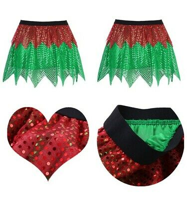 Women's Ladies Waistband Short Skirt Shiny Sequins Fancy Dress Christmas Costume