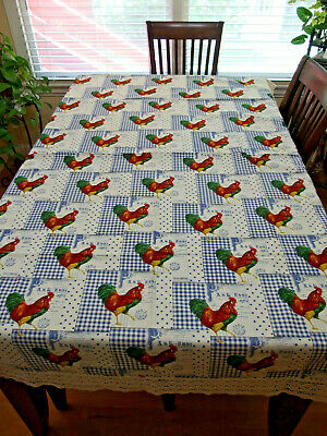 """74"""" x 50"""" Handmade Tablecloth w/""""FRENCH MARKET"""" Fabric w/beautiful ROOSTERS, NEW"""