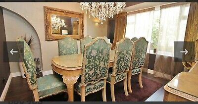 Burr Walnut Dining Suite Table 8 Chairs 2 Side Cabinets