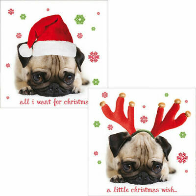 Recyclable Christmas Giftwrap Pug Dog Santa Hat /& Antlers Wrapping Paper /& Tag
