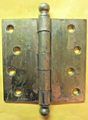 "1 Antique McKinney 4"" Mortise Door Square Hinge Ball Tips Finials Brass Plated"
