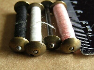 Vintage Singer Sewing-4 Long Bobbins Two Rounded Ends