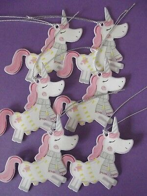 Unicorn Christmas Gift Tags -Set Of 6 With Silver Cord