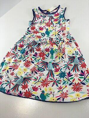 Mini Boden Girls Pocket Detail A-line Jersey Dress Tropical Multi 8-9 Years NWT=