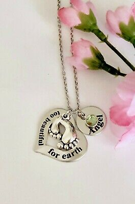 Personalized miscarriage, infant loss, memorial Baby Feet charm Necklace