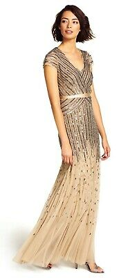 Adrianna Papell Women's Long Formal Beaded V-Neck Dress With Cap Sleeves Nude 4
