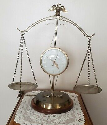 Vintage  Clock Eagle Model 207 Mantle Scale of Justice Electric Made in...