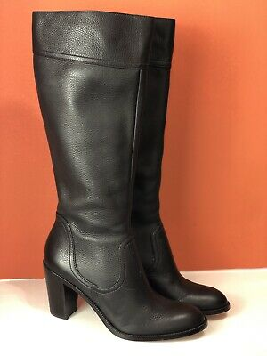 ANN TAYLOR Womens Size 8.5 Dark Brown Leather Heeled Boots Classic
