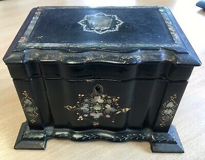 Antique Victorian C1860 Papier Mache Tea Caddy inlaid Mother of Pearl & Abalone