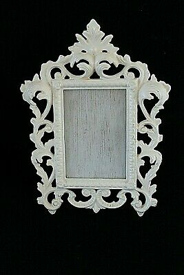 Vtg White Cast Iron Ornate Easel Picture Frame Shabby Chic French Country 8 x 11