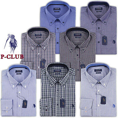 Camicia Uomo Manica Lunga Botton Down P-Club Regular Fit Taglie M L Xl Xxl 3Xl
