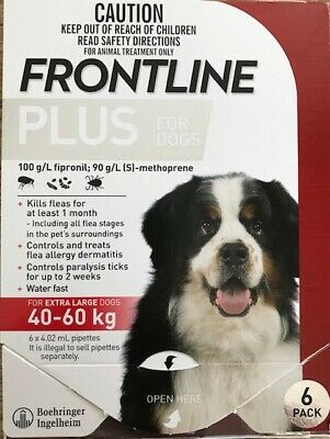NEW Frontline Plus Flea & Tick Treatment for Dogs 89-132lbs (40-60kg) 6 doses