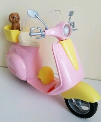 Barbie Pink and Yellow Scooter Moped with Puppy and Helmet