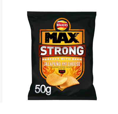 Full Box Walkers Max Strong Jalapeno & Cheese Crisp 50g x 24 bag