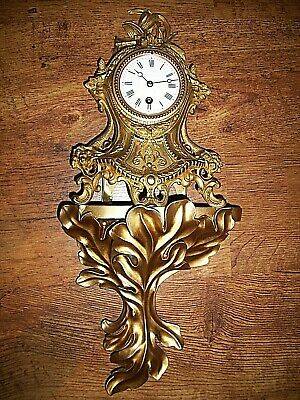 Antique Late 19th Century French Rococo Gilt Wall Clock (Pendulum Key Numerals)