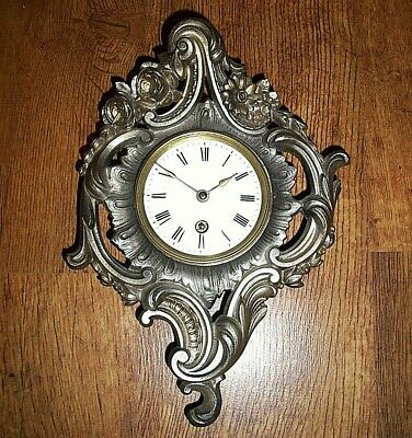 Antique 19th Century Cast Metal French Rococo Wall Clock (Roman Numerals Key)