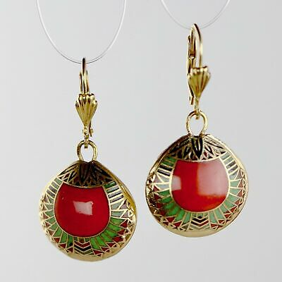 Vintage 1970s Shashi Red Scarab Earrings