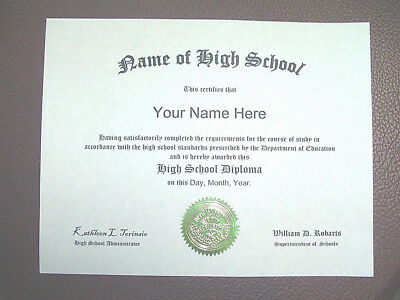 HIGH SCHOOL Diploma (Fake) Looks like the real deal! Official layout!