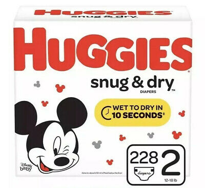 Huggies Snug & Dry Baby Diapers Size 2, 228 Count- Pañales FREE SHIPPING