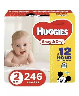 HUGGIES Snug & Dry Diapers, Baby Size 2, 246 Count (packing May Very) Pañales