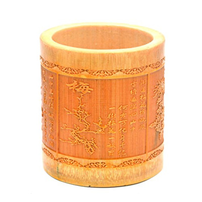 Medifier Vintage Chinese Bamboo Wood Desk Pen Pencil Cup Holder plum blossoms,