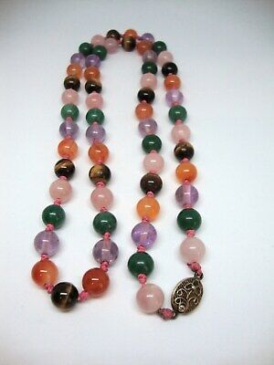 Vintage Chinese Export Agate Round Bead Necklace Silver Filigree Clasp