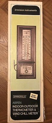 NIB Springfield Aspen Indoor-Outdoor Thermometer & Wind Chill Meter Ships Free