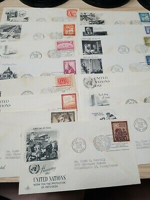 UN Stamps Lot of 15 195Os+ United Nations First Day Cover FDC Collection 090601