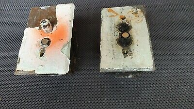 2 Antique Porcelain Push Button Wall Light Electrical Switch w/ Plate Tested