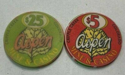 Aspen Mine & Casino $5 & $25 vintage Casino chips pair - CRIPPLE CREEK, COLORADO