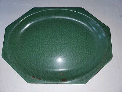 "Enamelware Octagon Platter Tray Serving Plate Dish Green Hard to Find 14 1/2"" L"