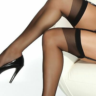 New 2 Pack Bonneterie Coquette Hosiery Sheer Thigh High Stockings, Black