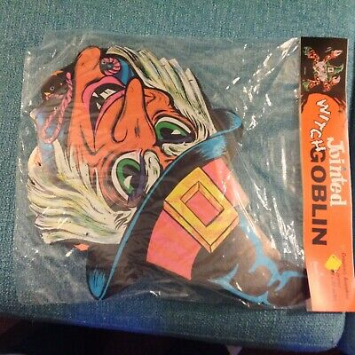 """Vintage NOS Sealed 1960's Vintage Beistle 30"""" Halloween Jointed Witch Goblin"""