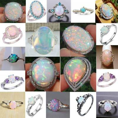 925 Sterling Silver Fire Opal Moonstone Rings Wedding Jewelry Sz#6-10 Rings Gift