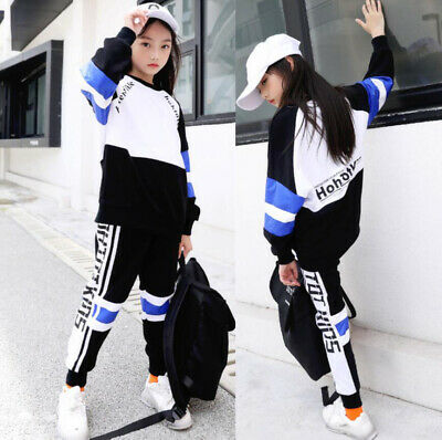 2Pcs Kids Girls Crew Neck Sweatshirt Top Jogging Bottoms Outfits Tracksuit Set