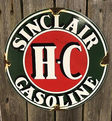 Vintage Sinclair Gasoline Porcelain Gas Motor Hc Service Station Pump Plate Sign