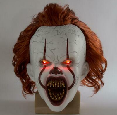 Pennywise LED Mask Stephen King It Chapter Two 2 Halloween Cos Scary Joker Prop